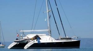 Segeln ab Korfu mit dem Katamaran Laura. Es ist eine Privileg 45.